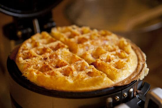 Crispy bits - Ham and Cheese Waffles