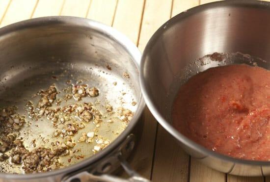 Cookin' the garlic!