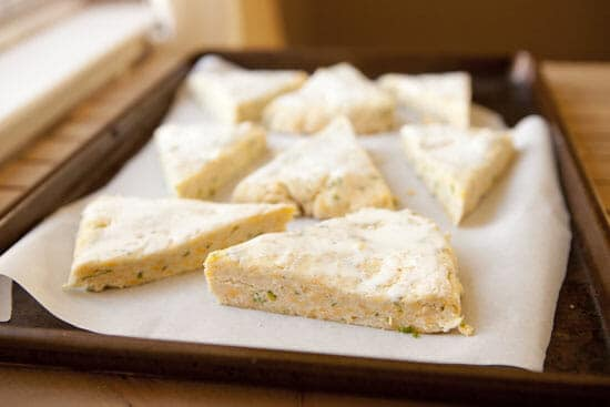 Brushed cream helps browning - Cheddar Scallion Scones