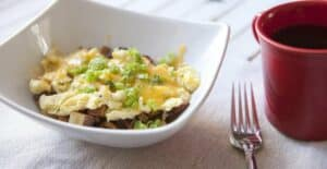 Freezable Breakfast Bowls: Cheese and potatoes pile high with eggs in freezable portions. They reheat fantastically for a quick and healthy breakfast!