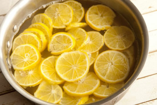 Boiling to remove some tart - Meyer Lemon Coffee Cake