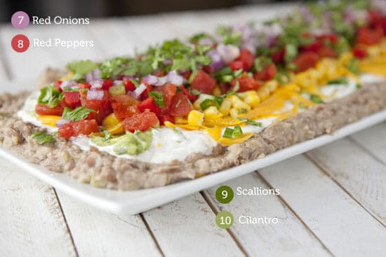 10 Layer Dip with veggies