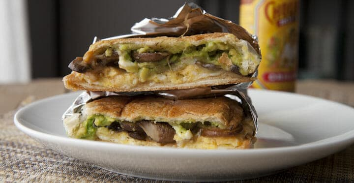 MUshroom Torta: Quite possibly the best breakfast sandwich I've ever made. Sauteed mushrooms, eggs, avocado, hot sauce, and cheese all smashed together. Gotta make this.