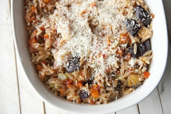 A parm crust on the Eggplant Orzo