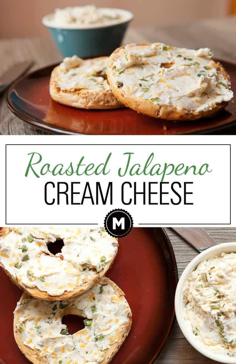 Jalapeno Cream Cheese - roasted jalapenos and cheddar mashed in with cream cheese is the perfect savory topper for toasted bagels!