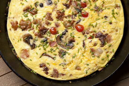 Baked and garnished English Breakfast Frittata ~ Macheesmo
