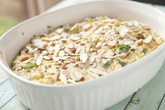 Almonds on top of Leftover Rice Casserole