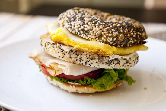 Leaning sandwich of bagels - Breakfast Club Sandwich