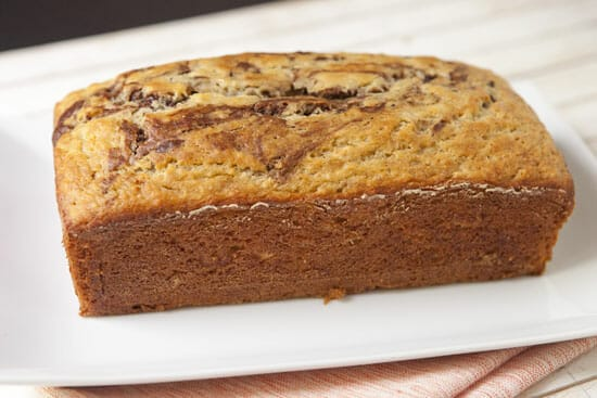 Marbled Banana Bread should come out clean.