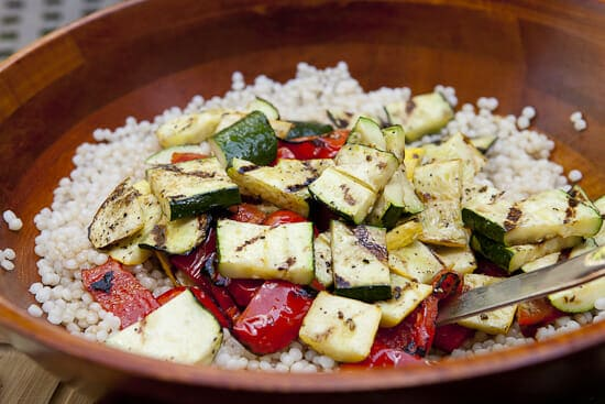 Nice big chunks of grilled veggies - Israeli Couscous Salad