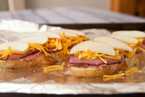 My favorite layer of these Open Faced Pastrami Sandwich