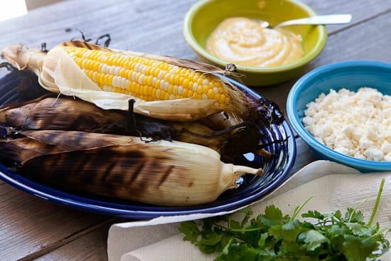 Grilled Mexican Corn fixings
