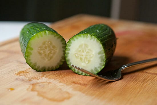 Cucumbers for Greek Tomato Salad