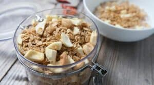 Spicy Maple Granola: Maple granola, a simple recipe spiked with cayenne for a little heat (but not too much), sweet dried apples, and loads of crunchy nuts. | macheesmo.com