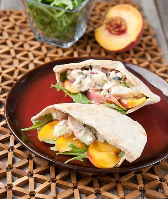 peach chicken salad pitas