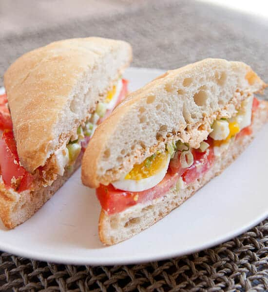 Egg and Tomato Sandwich cut.