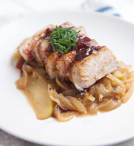 Kena's Seared Pork Chops with Apples ~ Macheesmo