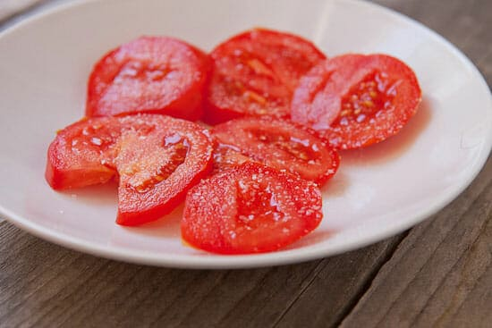 salted tomatoes for the Egg and Tomato Sandwich