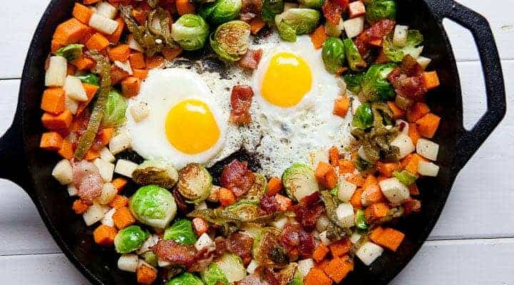 My favorite Fall Veggie Hash featuring Brussels sprouts, sweet potatoes, turnips, and bacon because, well, bacon! Dig into the awesome veggies of fall! Via Macheesmo.com