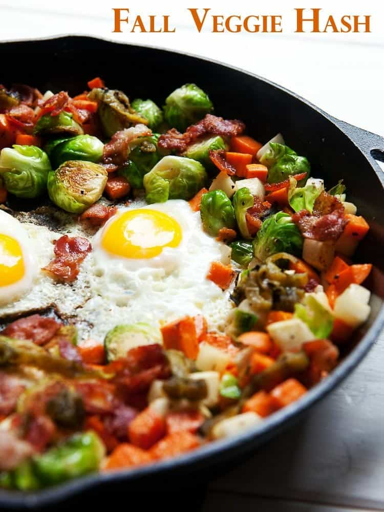 Brussels Sprout Hash featuring sweet potatoes, turnips, and bacon because, well, bacon! | macheesmo.com