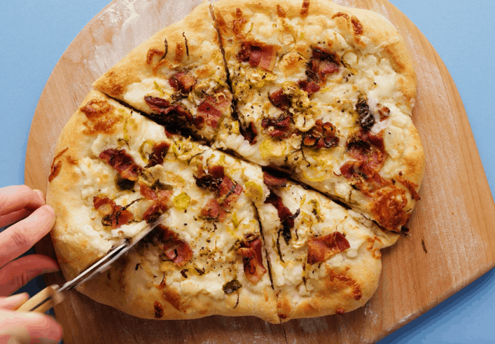 Mashed Potato Pizza with Bacon and Sprouts