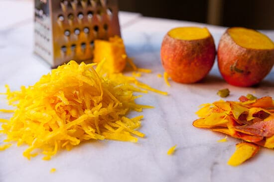 Shredded golden beets - beet coffee cake