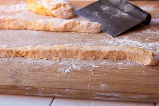 Rolling out gnocchi dough - Butternut Squash Gnocchi