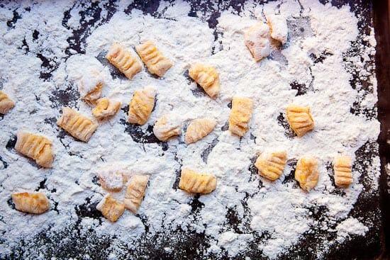 Flouring gnocchi - Butternut Squash Gnocchi