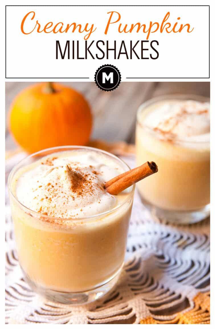 Pumpkin Milkshakes: Creamy pumpkin milkshakes with vanilla ice cream and cinnamon whipped cream!