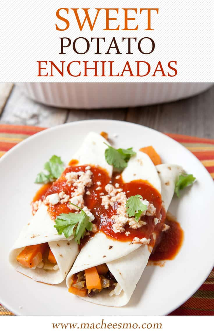 Easy to make sweet potato enchiladas that won't leave you feeling heavy. Great for a weeknight dinner!
