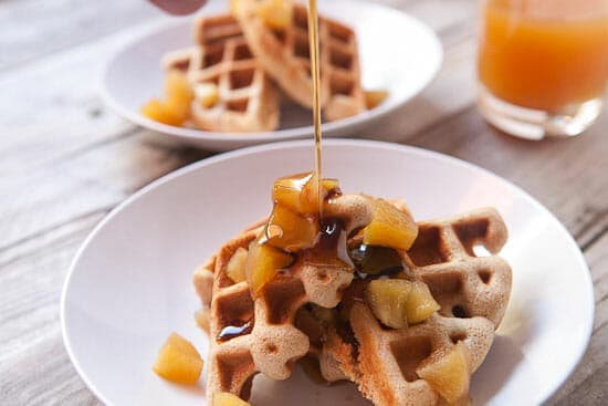 Syrup on apple cider waffles.