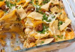 Sausage and Tortilla Breakfast Casserole
