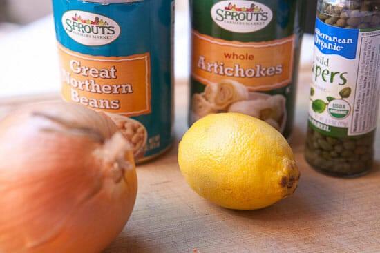 ingredients for Artichoke Piccata