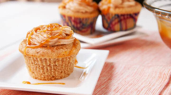 Caramel-filled homemade churro cupcakes topped with a cream cheese cinnamon frosting. Via Macheesmo.