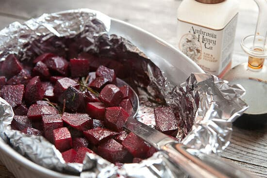glazing the Balsamic Roasted Beets.