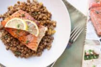Simmered lentils and butter roasted salmon make for a quick and healthy dinner option! From Love Your Leftovers.
