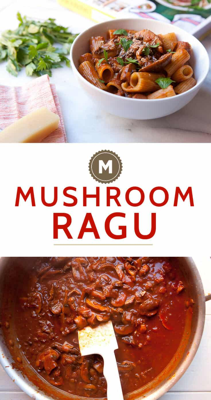 Slow simmered homemade mushroom ragu. The perfect Fall vegetarian main dish. This version is from the new The Kitchn Cookbook via Macheesmo.