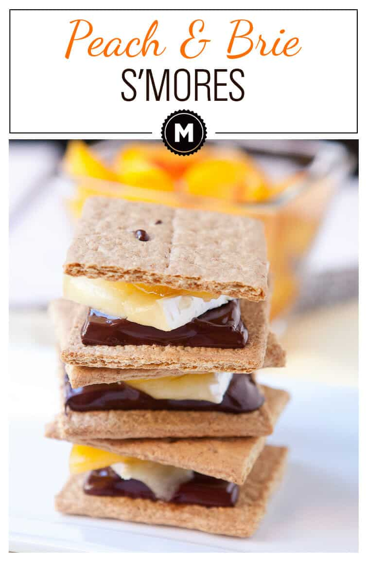 Delicious peach s'mores broiled with brie and melted chocolate. A perfect quick dessert from the Homemade Decadence Cookbook!