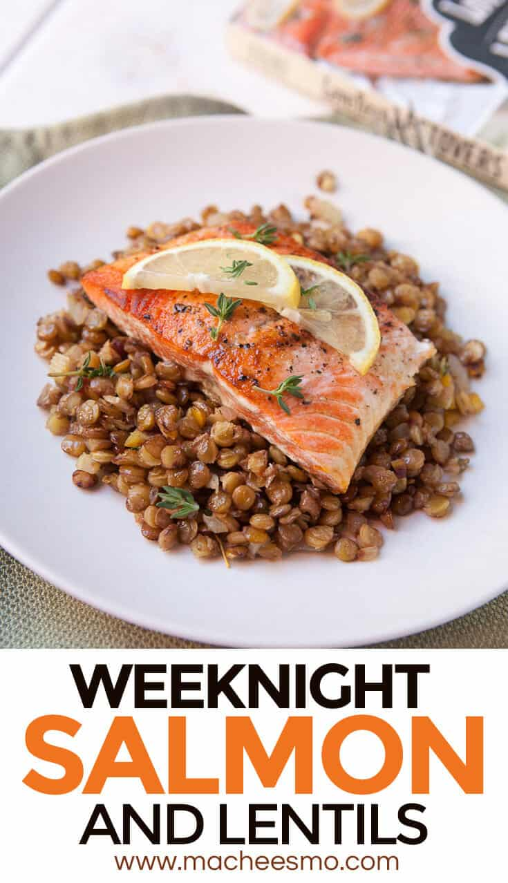 Lentils and Salmon - simmered lentils with lemon and capers and butter roasted salmon make for a quick and healthy dinner option! From Love Your Leftovers.