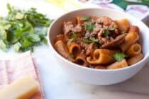 Homemade Mushroom Ragu slow simmered. The perfect vegetarian fall pasta meal from The Kitchn Cookbook. Via Macheesmo.
