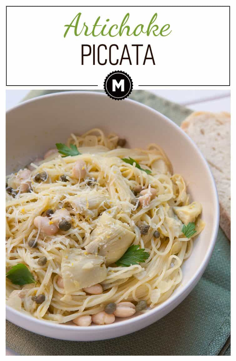 Homemade artichoke piccata. A great vegetarian version of the classic Italian dish and it takes just minutes to make!