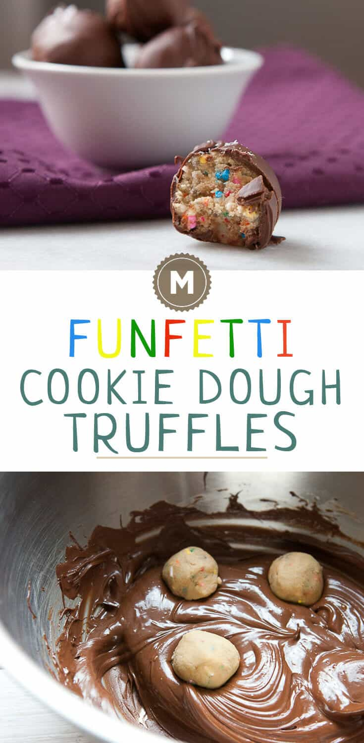 Funfetti Cookie Dough Truffles made with a safe-to-eat no bake cookie dough! These are so addictive and good. The perfect holiday sweet snack.