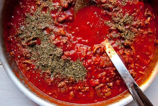 Simmering baked ziti sauce.