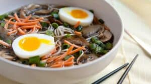 Mushroom Soba Bowls: A simmered savory mushroom broth spooned over soba noodles and topped with loads of fantastic toppings including the perfect soft-boiled egg!