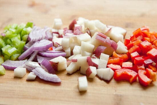 Chopped veggies for crunch wraps.