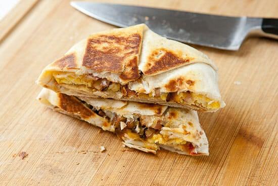 Homemade breakfast crunch wrap chopped.
