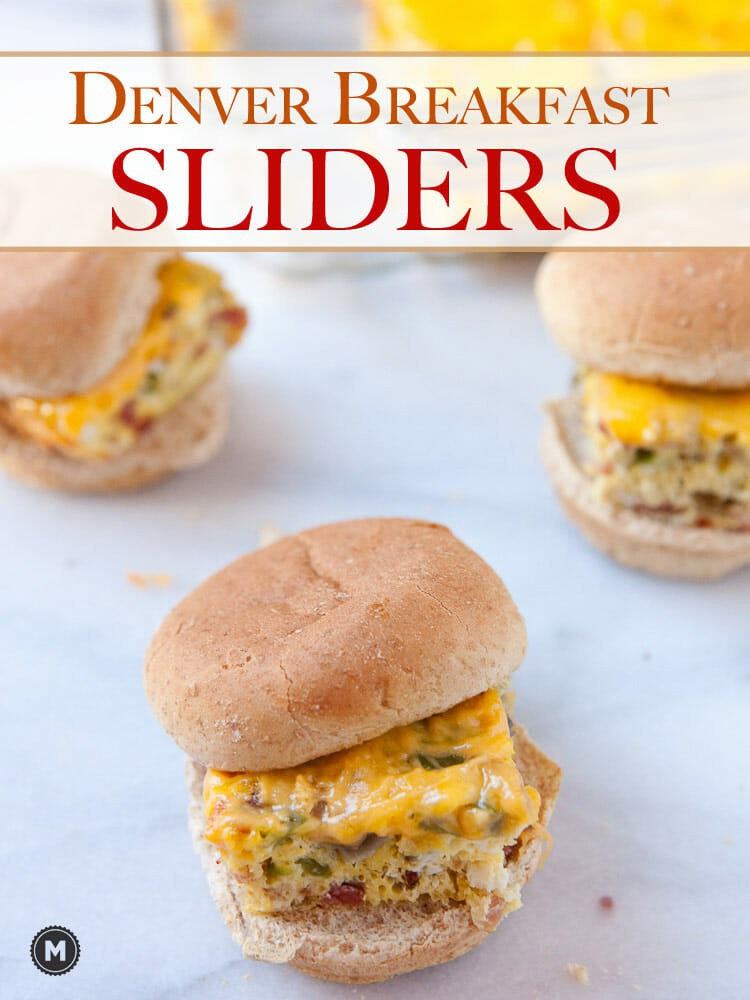 Denver Breakfast Sliders: Classic Denver omelet flavors baked together and served on toasted slider buns. This is a great way to feed a brunch crowd with fun little breakfast sliders!