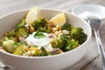 Loaded Broccoli Rice Bowls: Roasted spicy broccoli and chickpeas piled high with brown rice and a tangy lemon yogurt sauce. Hearty and healthy!