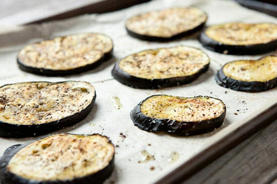 Eggplant rounds ready for pizza.