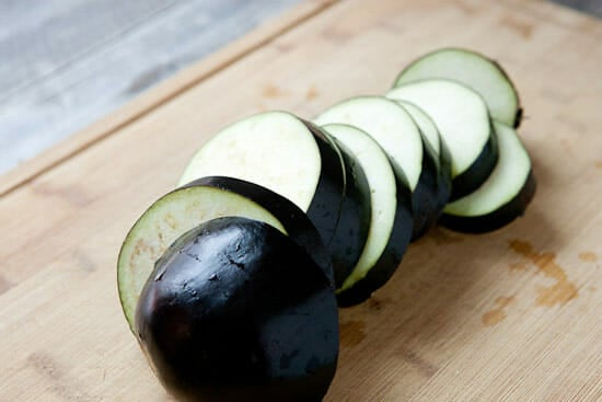 Thick eggplant slices.